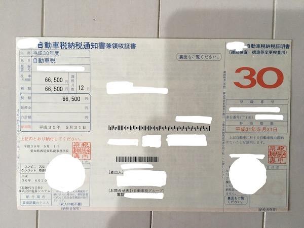 R35GT-Rの自動車税納税通知書の写真
