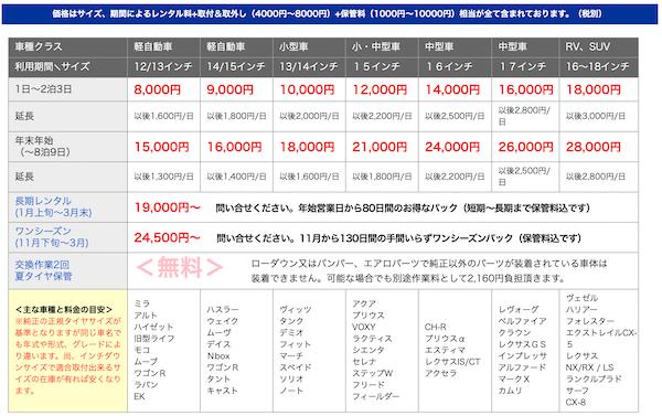 都オートのスタッドレスタイヤのレンタル価格表の写真